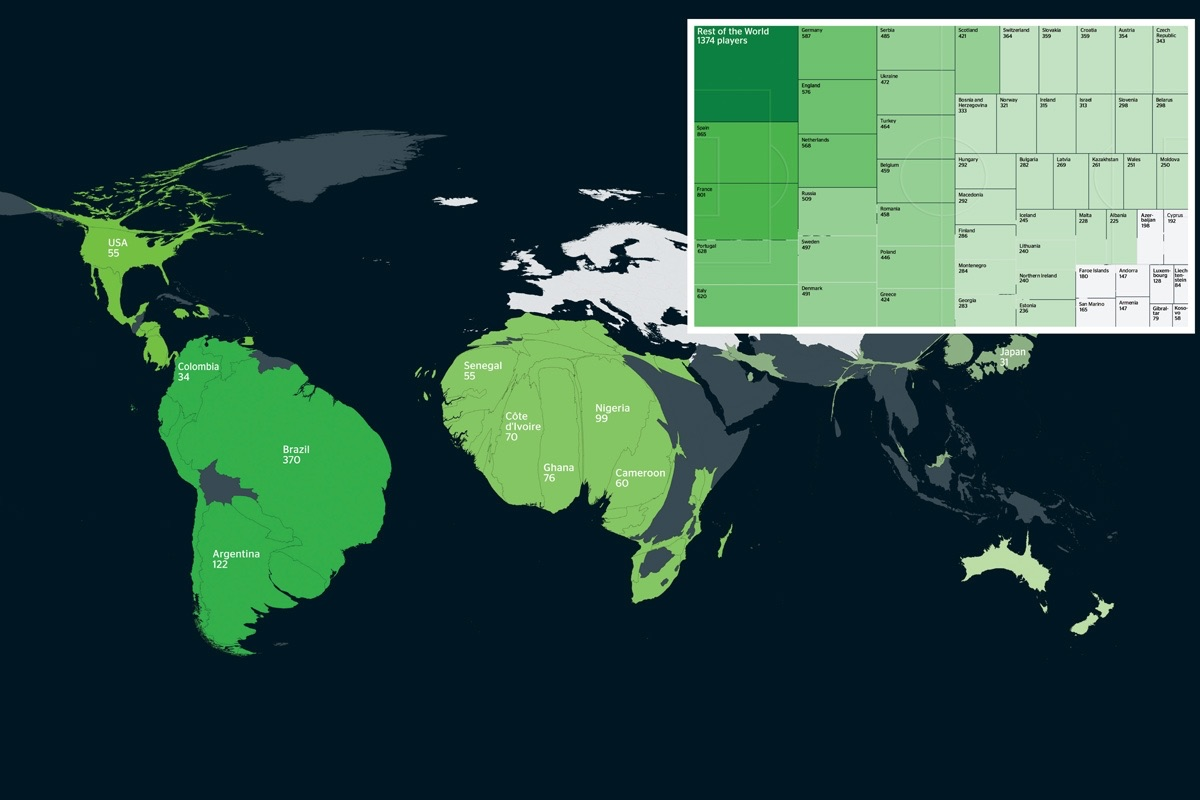 一图看清欧洲足球联赛里非欧洲球员的主要国籍  足球话题区